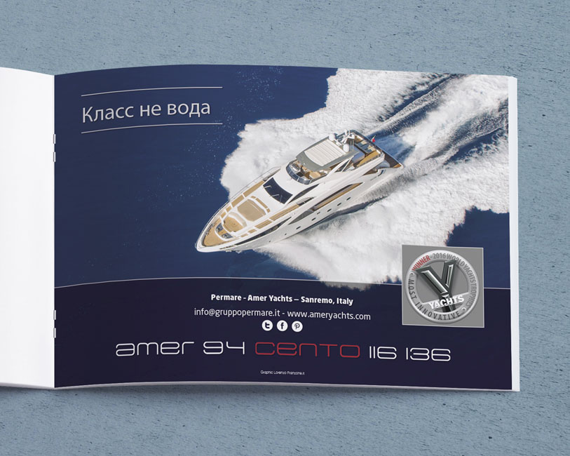 Amer Yacht Permare - Pagina pubblicitaria Amer 100 drone